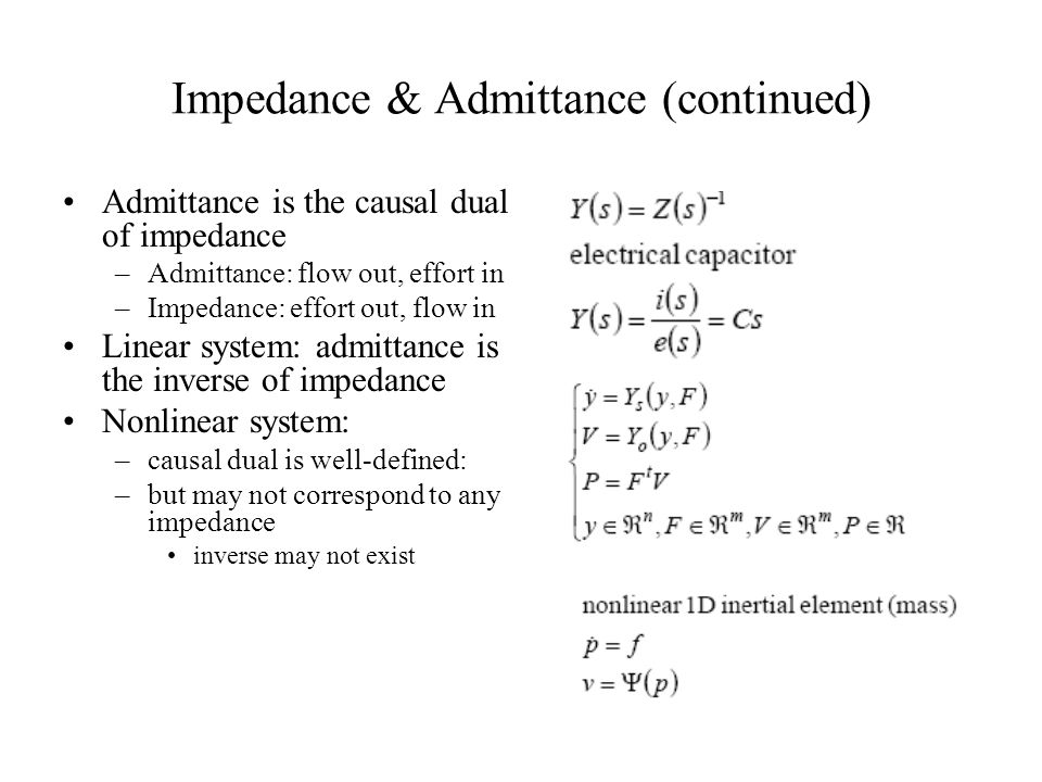 Impedance & Admittance (continued)