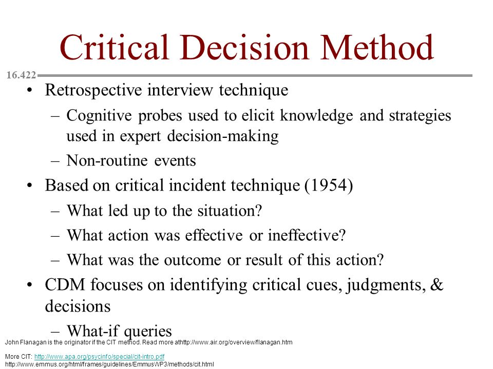 Critical Decision Method
