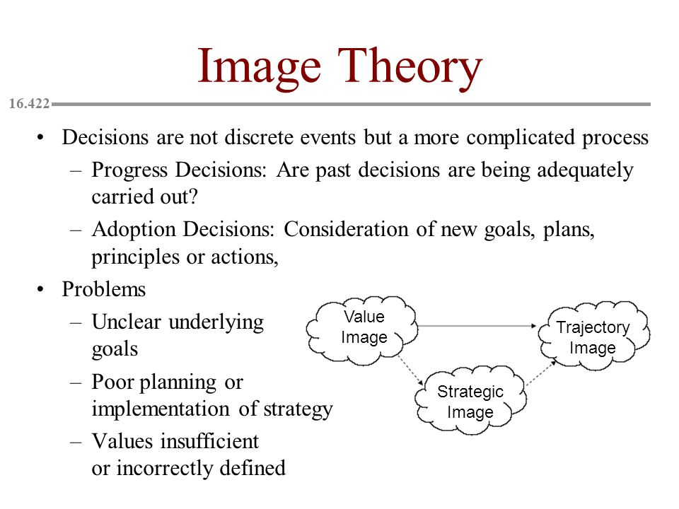 Image Theory Decisions are not discrete events but a more complicated process.
