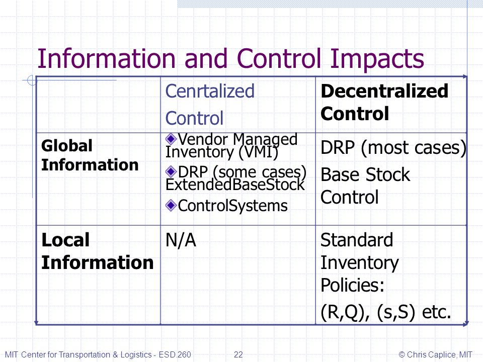 Information and Control Impacts