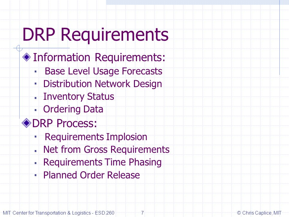 DRP Requirements Information Requirements: Distribution Network Design