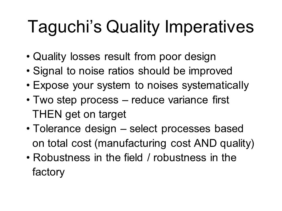 Taguchi's Quality Imperatives