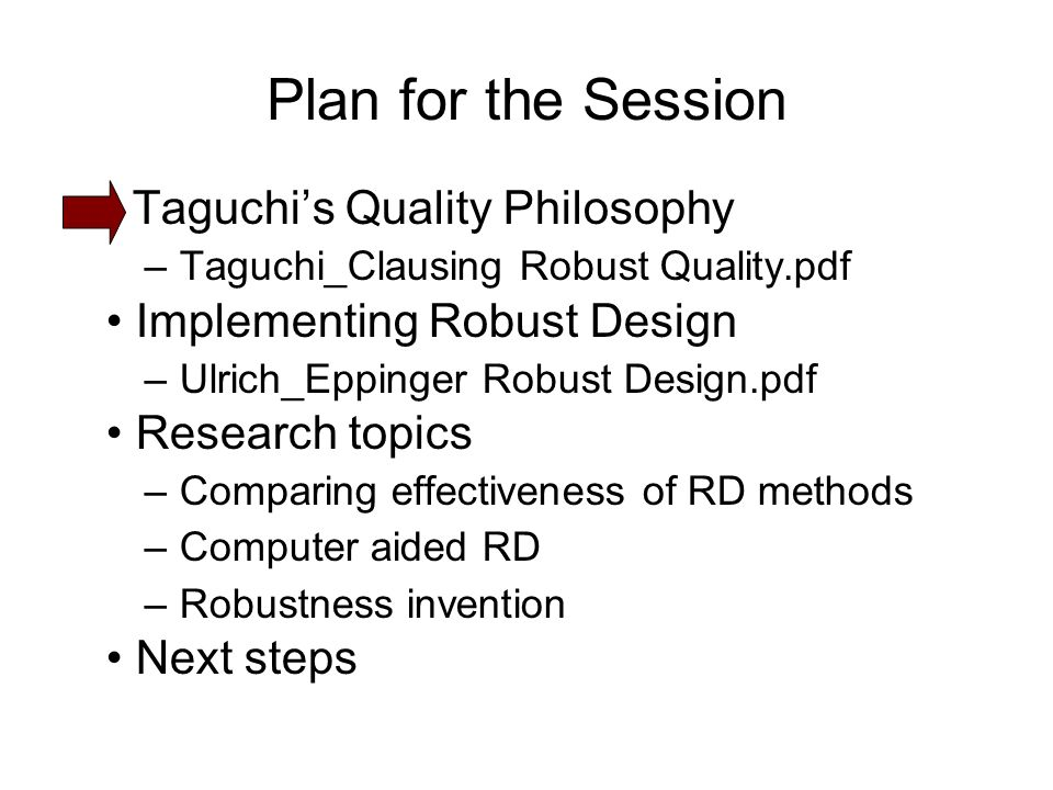 Plan for the Session Taguchi's Quality Philosophy