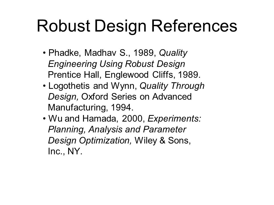 Robust Design References