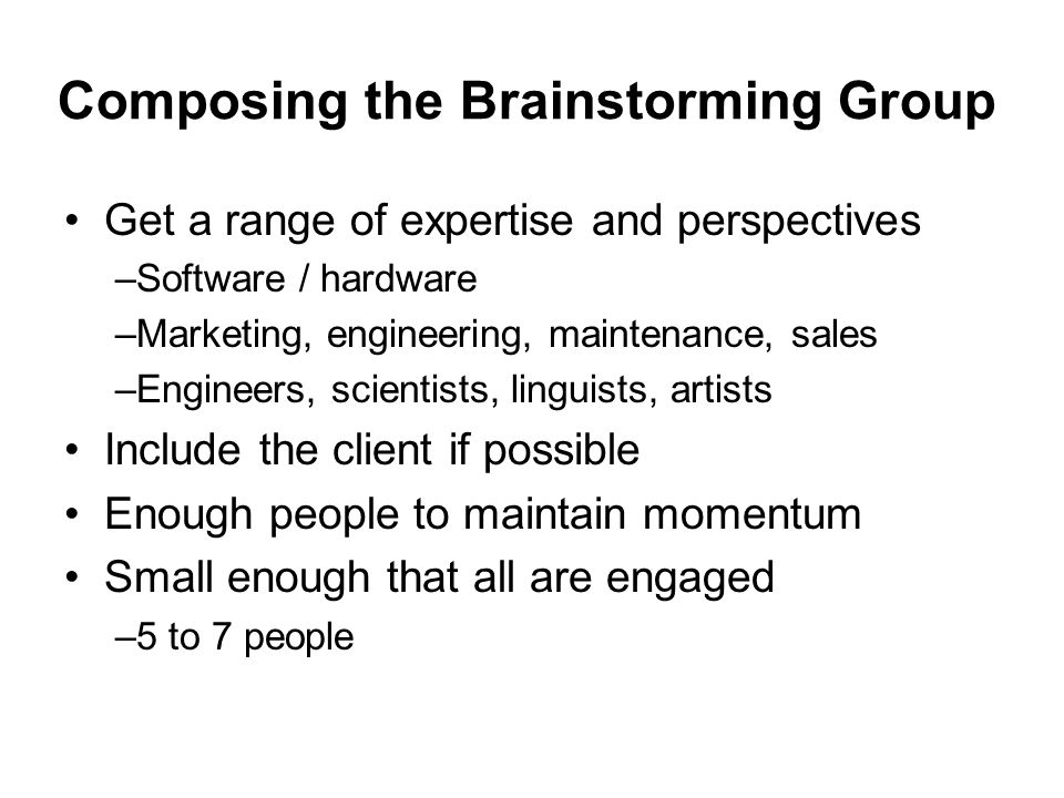 Composing the Brainstorming Group