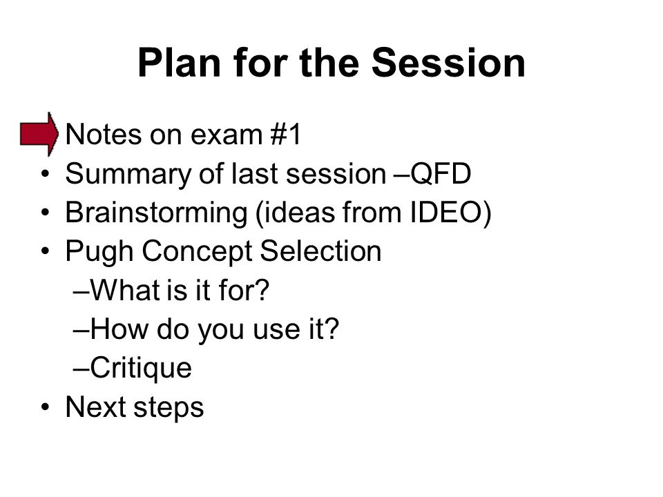 Plan for the Session Notes on exam #1 Summary of last session –QFD