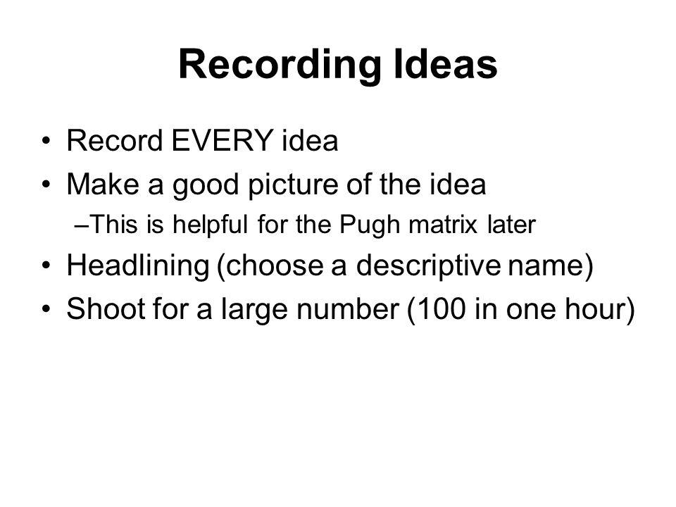 Recording Ideas Record EVERY idea Make a good picture of the idea