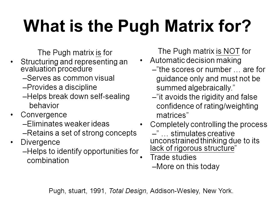 What is the Pugh Matrix for