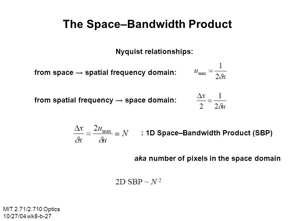 The Space–Bandwidth Product Nyquist relationships:
