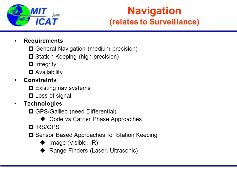 Navigation (relates to Surveillance)