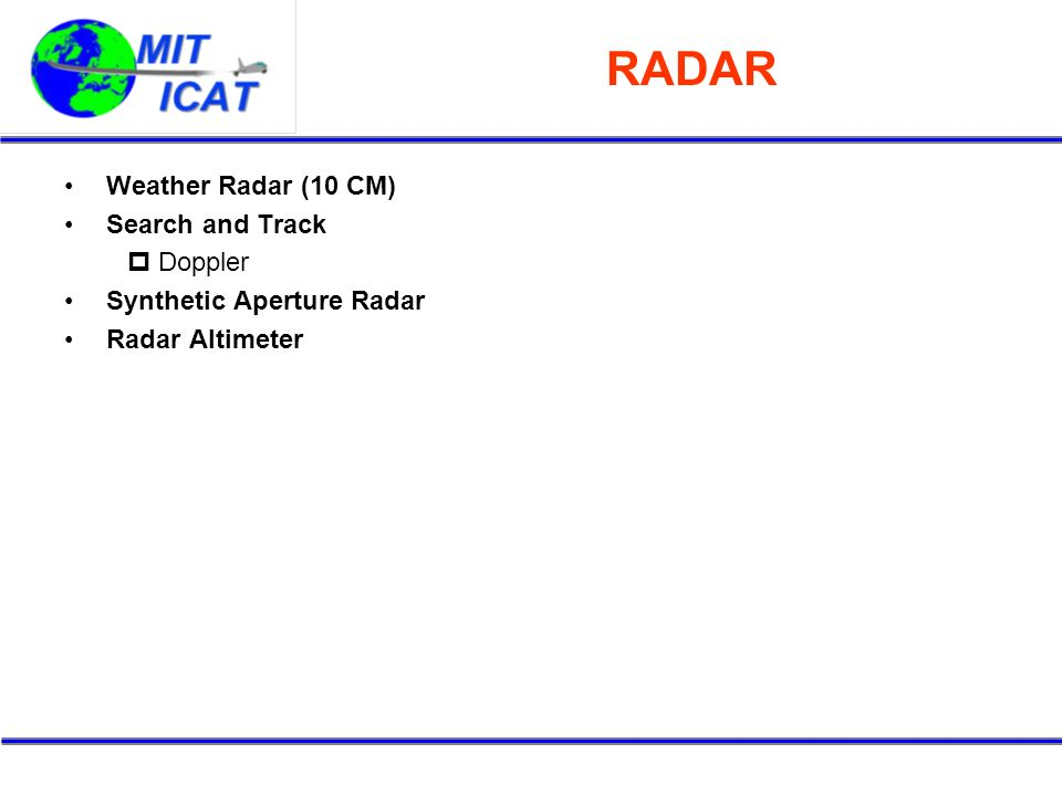 RADAR Weather Radar (10 CM) Search and Track Doppler