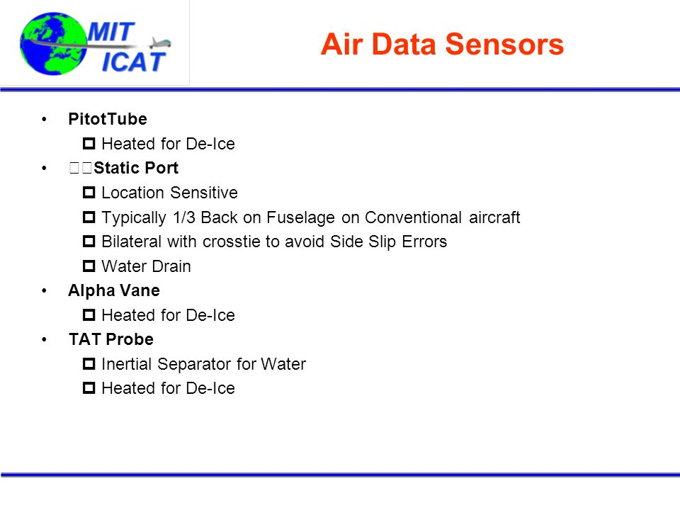 Air Data Sensors PitotTube Heated for De-Ice 􀁹Static Port