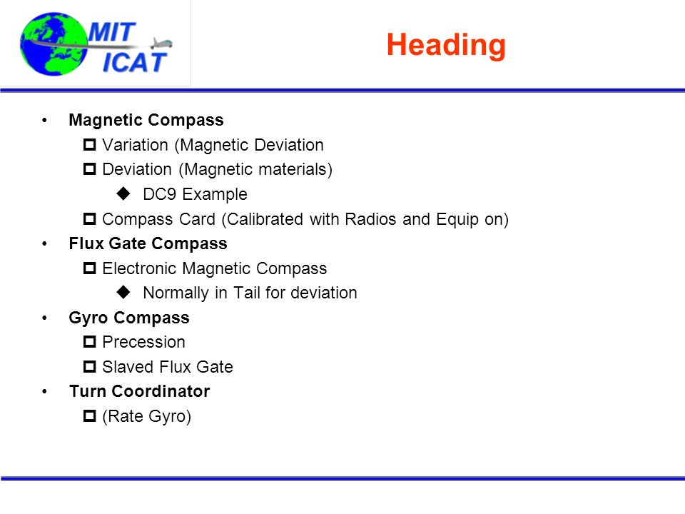 Heading Magnetic Compass Variation (Magnetic Deviation