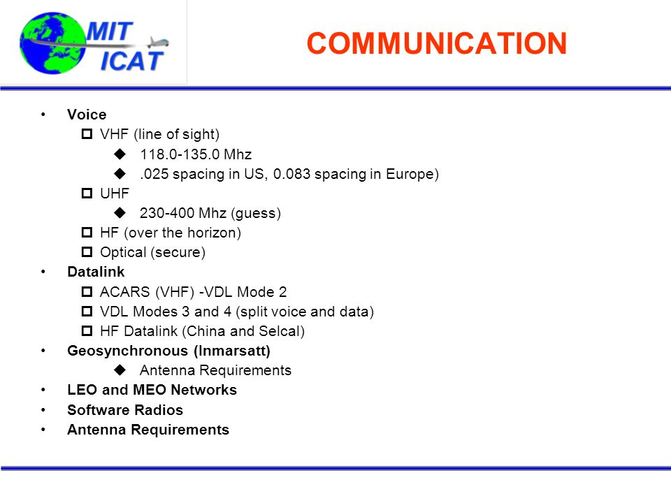 COMMUNICATION Voice VHF (line of sight) 118.0-135.0 Mhz