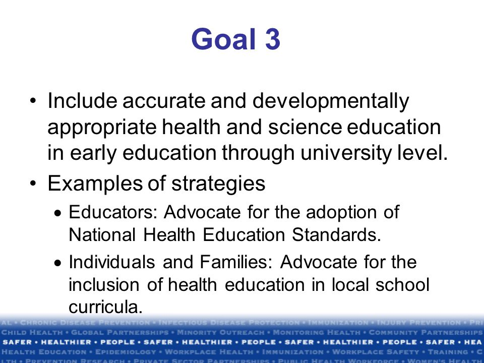 strategies of health education Health educ q 1995 aug22(3):307-28 health education intervention strategies:  recommendations for future research steckler a(1), allegrante jp, altman d,.