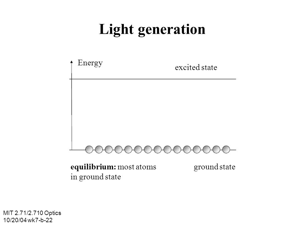 Light generation Energy excited state equilibrium: most atoms