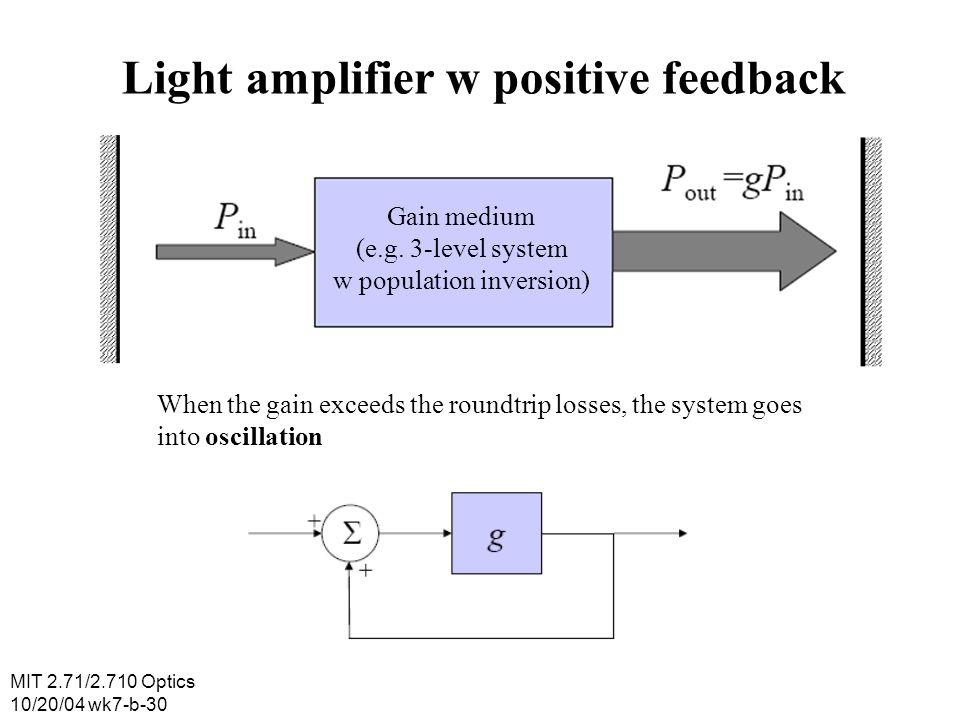 Light amplifier w positive feedback