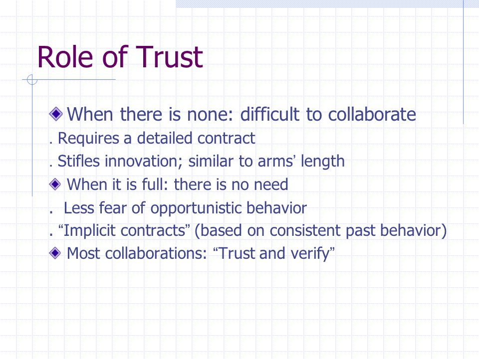 Role of Trust When there is none: difficult to collaborate