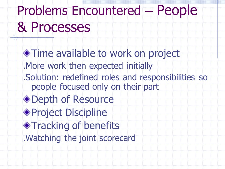 Problems Encountered – People & Processes