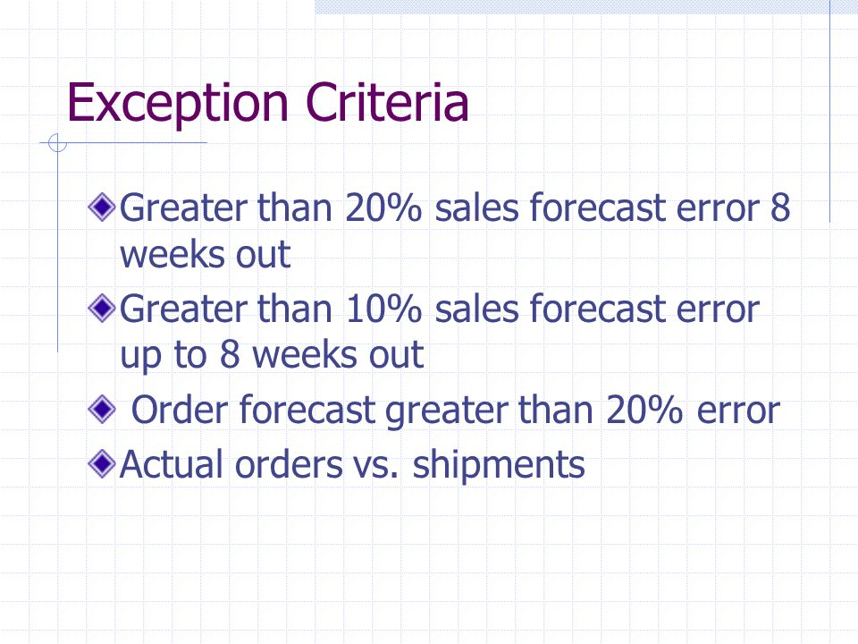 Exception Criteria Greater than 20% sales forecast error 8 weeks out