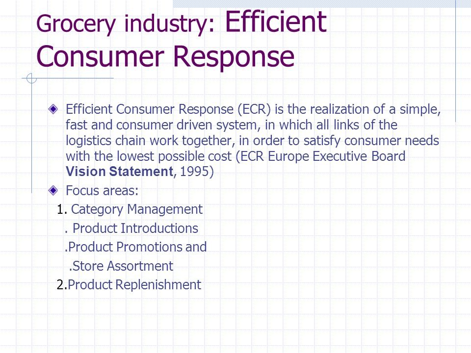 Grocery industry: Efficient Consumer Response