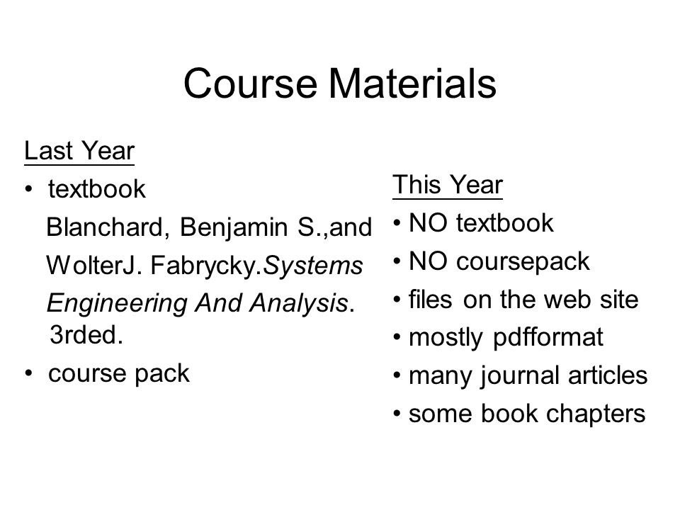 Course Materials Last Year • textbook Blanchard, Benjamin S.,and