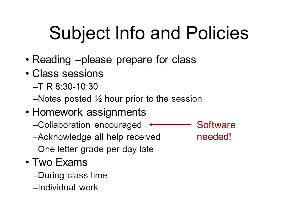 Subject Info and Policies