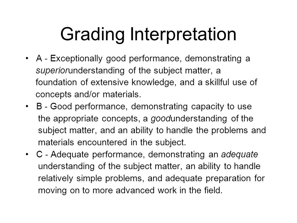 Grading Interpretation