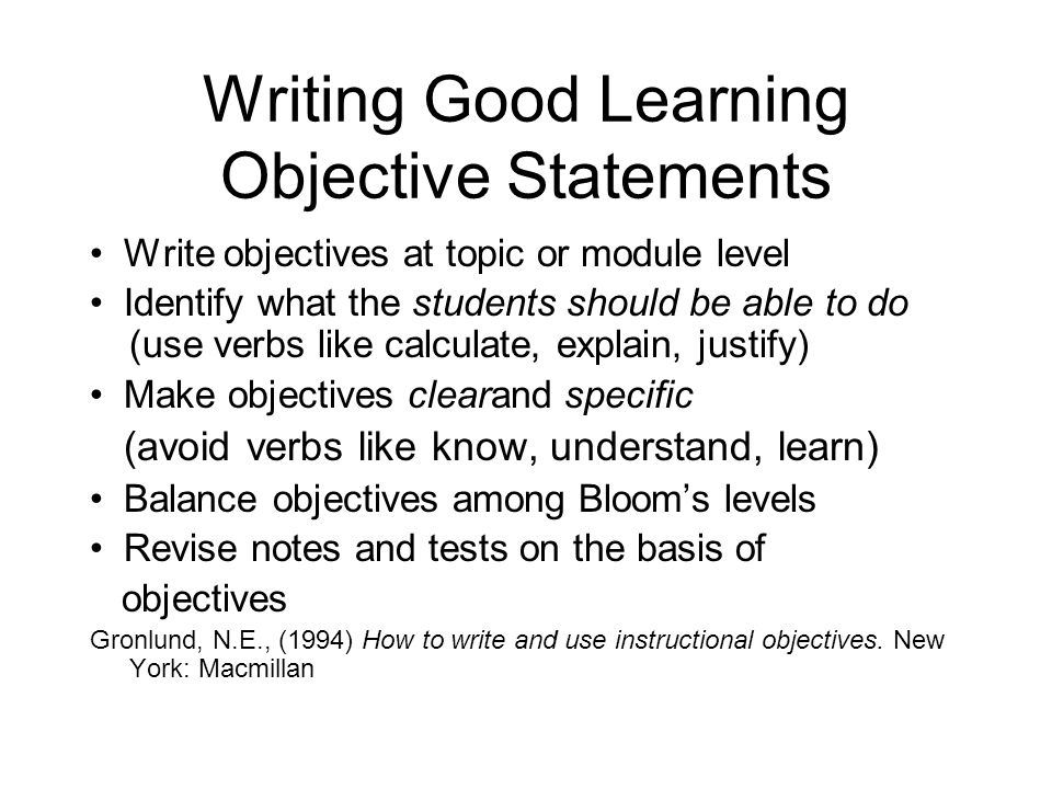 Writing Good Learning Objective Statements