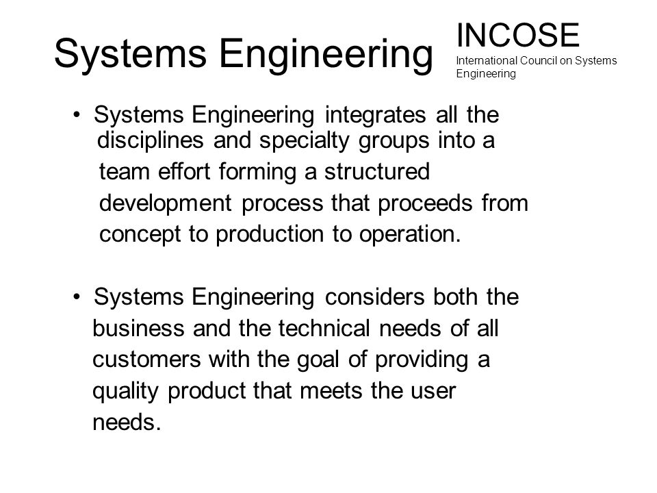 Systems Engineering INCOSE