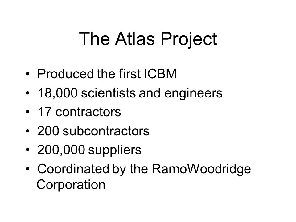 The Atlas Project • Produced the first ICBM