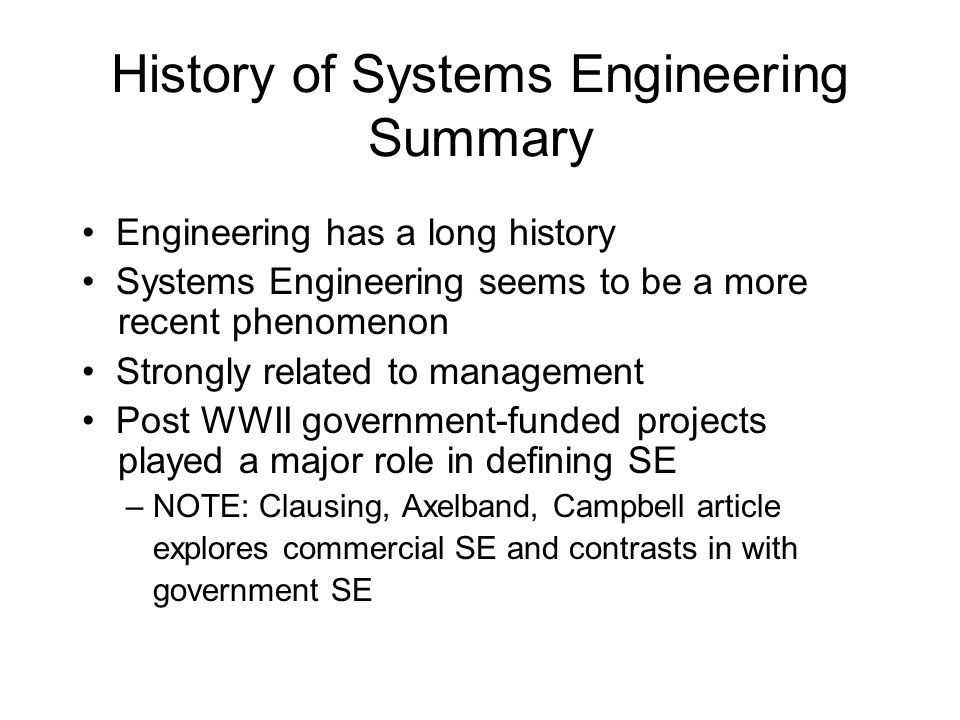 History of Systems Engineering Summary