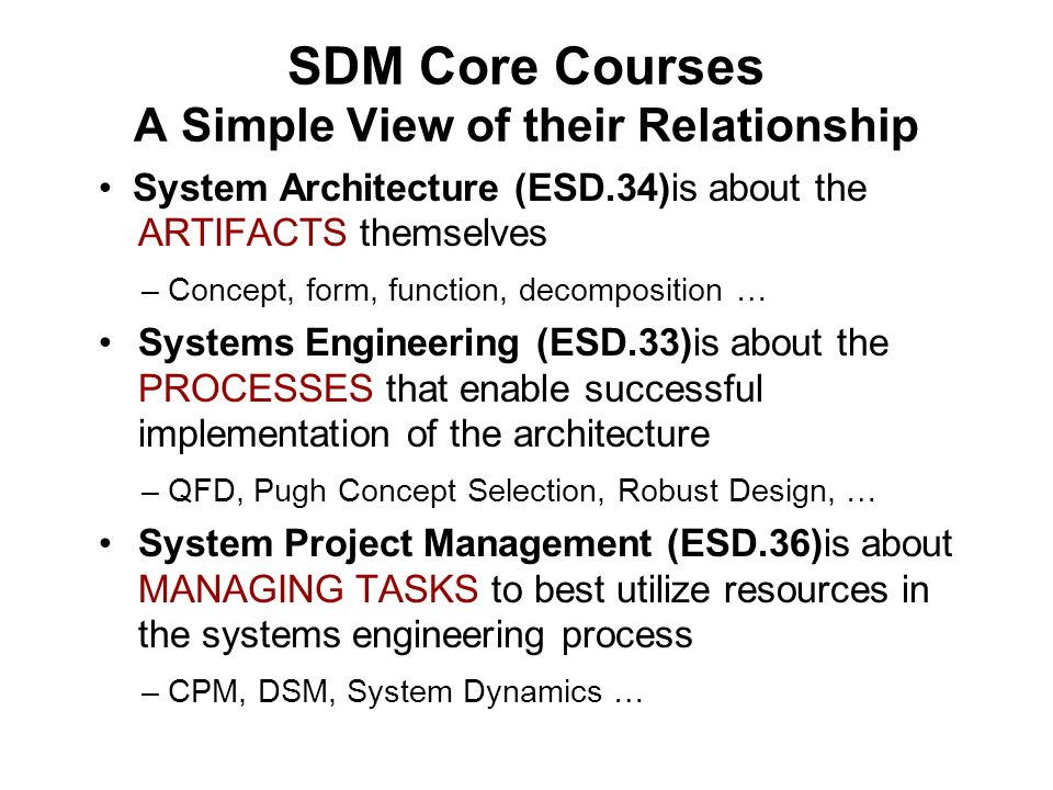SDM Core Courses A Simple View of their Relationship
