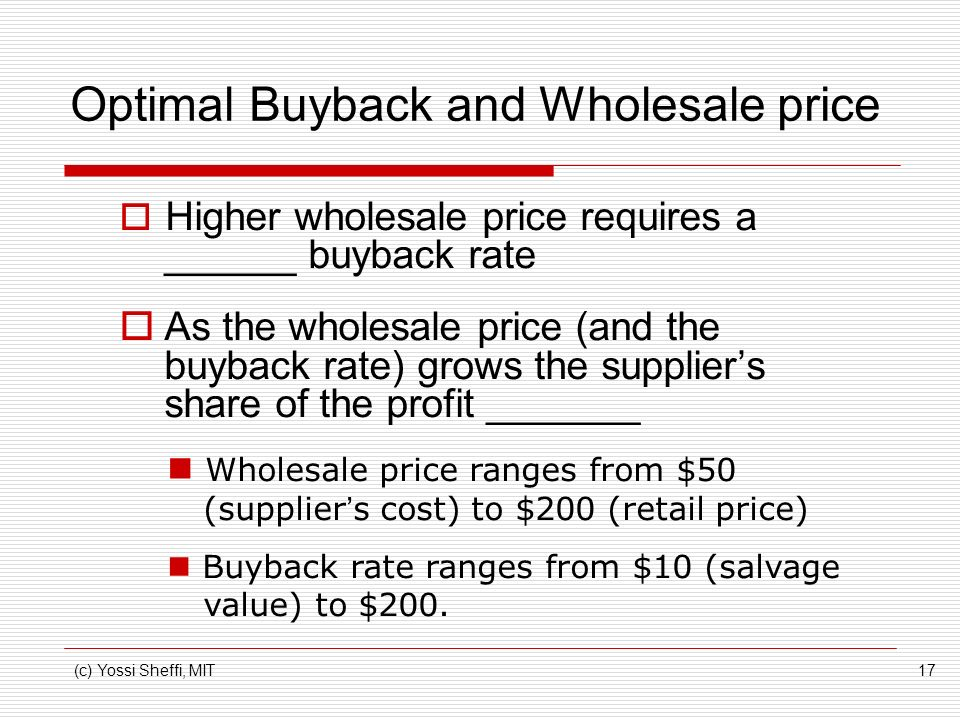 Optimal Buyback and Wholesale price