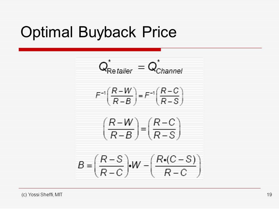 Optimal Buyback Price (c) Yossi Sheffi, MIT