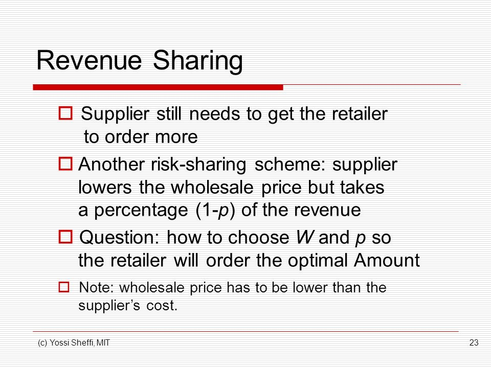 Revenue Sharing Supplier still needs to get the retailer to order more