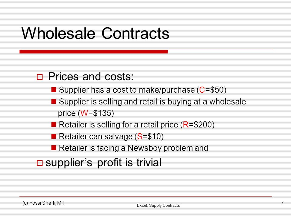 Wholesale Contracts Prices and costs: