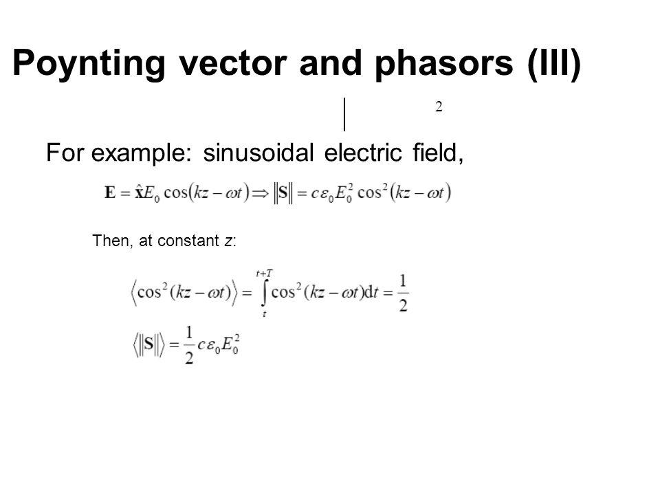 Poynting vector and phasors (III)