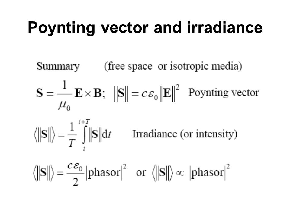 Poynting vector and irradiance