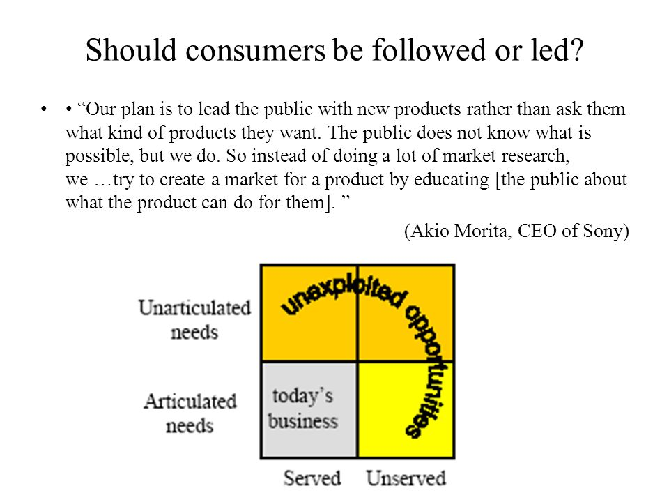 Should consumers be followed or led