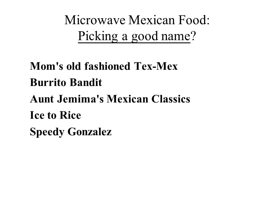 Microwave Mexican Food: Picking a good name