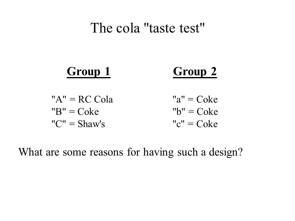 The cola taste test Group 1 Group 2