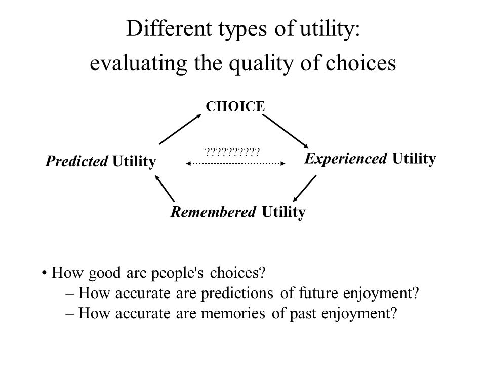 Different types of utility: evaluating the quality of choices