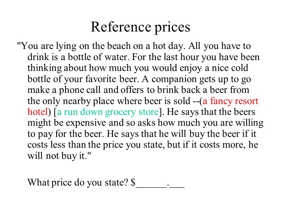 Reference prices