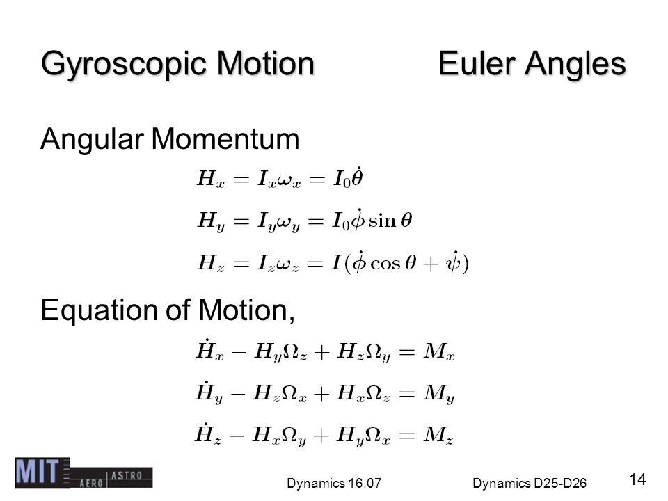 Gyroscopic Motion Euler Angles
