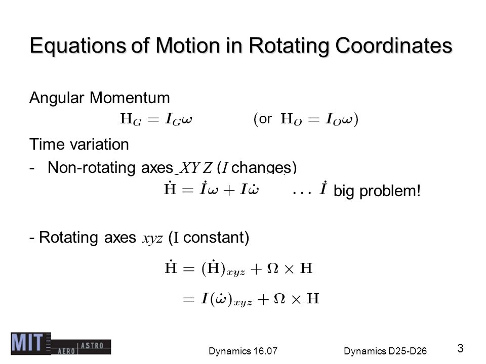 Equations of Motion in Rotating Coordinates