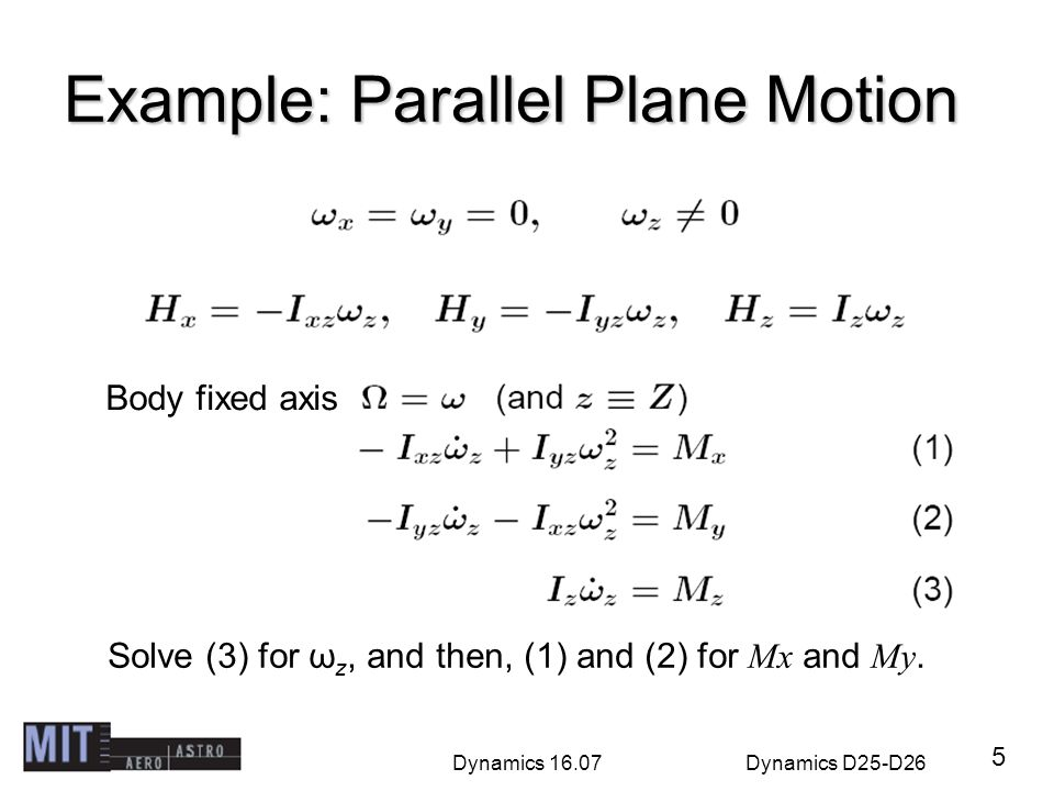 Example: Parallel Plane Motion
