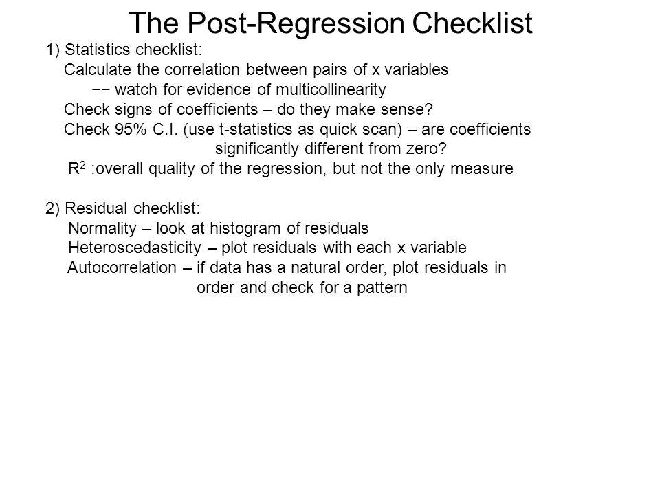 The Post-Regression Checklist