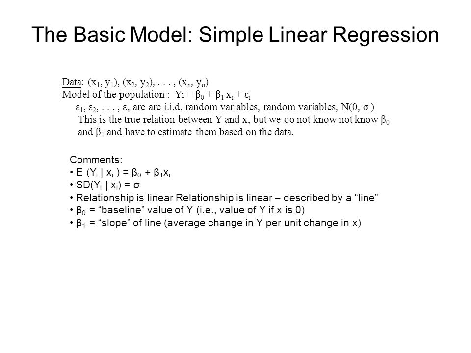 The Basic Model: Simple Linear Regression