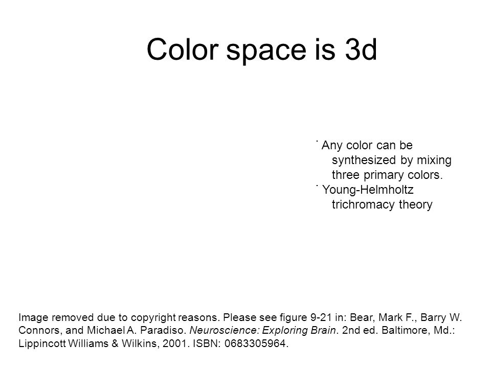 Color space is 3d ˙ Any color can be synthesized by mixing